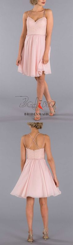 You'll love this beautiful spaghetti lace bodice open back short pleated chiffon a-line bridesmaid dress. It features a sweetheart lace bodice, unique spaghetti strap neckline, criss-cross straps and zipper closure on the back, sewn in satin sash at natur Blush Bridesmaid Dresses, Satin Sash, Lace Bodice, Ever After, Spaghetti, Chiffon, Neckline, Unique, Beautiful