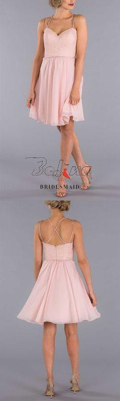 Blush Bridesmaid Dresses, Satin Sash, Lace Bodice, Ever After, Spaghetti, Chiffon, Neckline, Unique, Beautiful