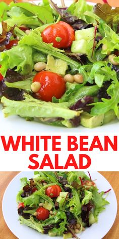 White bean salad recipe 330 calories (1 serving) 🥗2 cups mixed salad greens 🥗1/4 chopped cucumbers 🥗5 cherry tomatoes 🥗1/3 cup canned white beans, rinsed and drained 🥗1/2 avocado 🥗1 tablespoon white vinegar 🥗2 teaspoons olive oil 🥗salt and ground pepper to taste #whitebean #salad #whitebeanslad #whitebeanrecipe