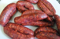 Sejouk (also known as sudjuk, sujuk, basterma or merguez) is a spicy version of sausage that is common in Middle Eastern cuisine, stemming from places like Morocco, Algeria, Turkey, Bosnia, Albania and more. They are not made from pork, but typically beef and sometimes a lamb-beef mixture with an addition of spices like smoked paprika for flavor and color.