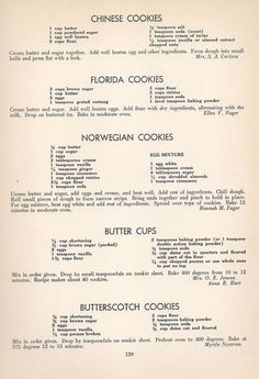 Vintage Cookies Recipes From Chinese Cookies, Florida Cookies, Norwegian Cookies, Butter Cups, Butterscotch Cookies Retro Recipes, Old Recipes, Cookbook Recipes, Sweet Recipes, Baking Recipes, Delicious Recipes, Family Recipes, Blender Recipes, Cake Decorating Techniques