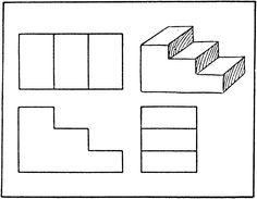 Orthographic Projection Of Stairs Design Basics Ncidq Stairs 3d Drawing, 3d Drawings, Detailed Drawings, Oblique Drawing, Isometric Drawing Exercises, Orthographic Projection, Orthographic Drawing, Drawing Skills, Drawing Techniques