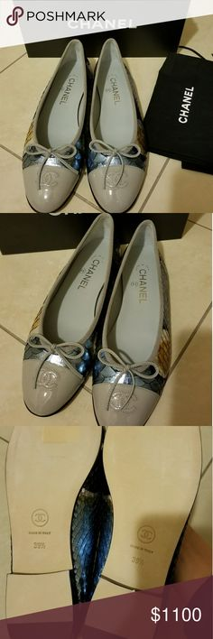 AUTHENTIC CHANEL PYTHON/CALFSKIN FLATS 100% authentic and brand new. Chanel python/calfskin flats from the fall season.  Retail for $1500 CHANEL Shoes Flats & Loafers