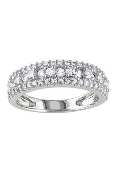 Sterling Silver White Sapphire Bi-Level Pave Band by Delmar on @HauteLook