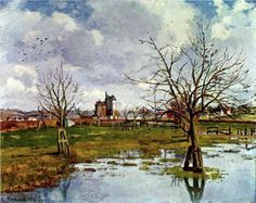 Camille Pissarro「LANDSCAPE WITH FLOODED FIELDS」(1873)
