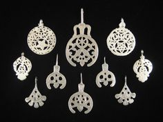 Old pendants from North Africa, all very high quality silver | Collection includes pieces from Tunisia, Egypt and Libya.