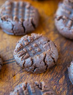 Chocolate Peanut Butter Cookies (GF) - No butter, No white sugar, and No flour used.