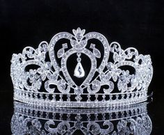 Janefashions Heart White Crystal Rhinestone Hair Tiara Crown Bridal Silver Jewelry T12108s ** See this great product. (This is an affiliate link and I receive a commission for the sales)