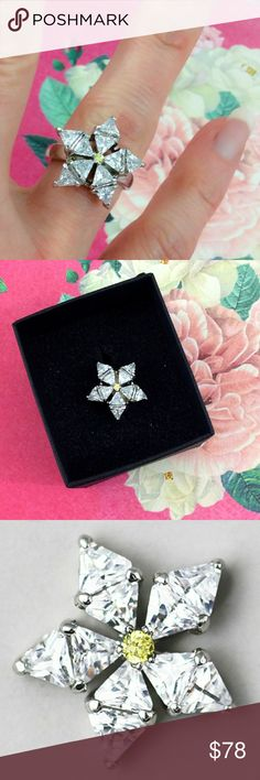 🎁✨ DAINTY Crystal STARBURST Ring 🎁✨ New in box! This crystal ring is a stunner! What better way to show everyone you're the STAR?!  Genuine crystal.  Sterling Silver Plated.   Gift, Christmas, star, shooting star snowflake, holiday, icy, present, ring, fashion, engagement, treat yo self, jewelry, Jewelry Rings
