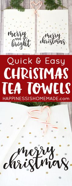 Easy Christmas Tea Towels with Cricut Explore Air - a quick beginner project and great homemade Christmas gift idea! #CricutMade #sponsored by @OfficialCricut