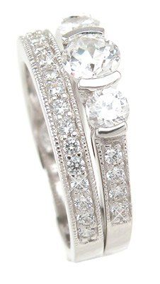 2.00 Ct Round-cut Antique Style Bezel Set Sterling Silver Cubic Zirconia 3 Stone Engagement Ring with Round Cut Side Stones and Matching Band Cz Bridal Set > Price: $39.99 > Click on the image for details and offers.