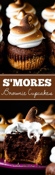 Smores brownie cupcakes with a graham cracker crust, brownie cupcake, and toasted marshmallow frosting on top! Recipe on sallysbakingaddiction.com