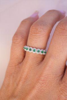 Green Emerald And Diamond Wedding Band In 2019 Emerald Band Ring, Green Emerald Ring, Emerald Jewelry, Emerald Eternity Band, Pearl Wedding Bands, Emerald Wedding Rings, Diamond Wedding Bands, Green Engagement Rings, Emerald Green Weddings