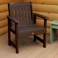 Highwood Eco-friendly Marine-grade Synthetic Wood Lehigh Garden Chair (Weathered Acorn), Brown, Size Single, Patio Furniture (Plastic)