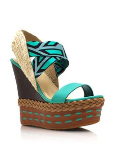Stitched Printed Espadrille Wedges