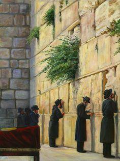 Men at Wall - Chava Roth Cultura Judaica, Arte Judaica, Jewish History, Jewish Art, Religion, Israel Palestine, Illustrations, Art Gallery, Bible