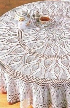Find This Pin And More On Crochet. Round White Cloth With A Pattern \