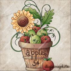 Fridge Magnet - Apple Basket and Sunflowers Bob Ross, Clipart, Illustrations, Graphic Illustration, Owl Clip Art, Pintura Country, Country Paintings, Tole Painting, Autumn Painting