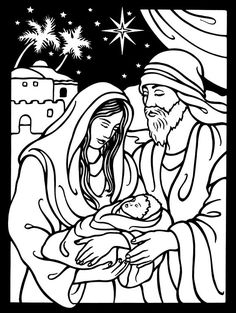 maryjoseph and baby jesusfrom dover publications nativity coloring pageschristmas - Mary Baby Jesus Coloring Page