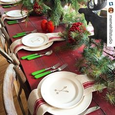 ❤️Ho-Ho-Ho #Repost @memehillstudio ・・・ Sharing my rustic tablescape on the blog. Skipping the tablecloth all together and pairing the red table with my awesome red striped farmhouse towels from @paintedfox1. Just say no to paper napkins. ✋swing by painted fox and get yourself six of theses beauties for 20% off. At checkout add AMIELOVES2O. Link in bio to painted Fox Christmas.