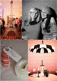 paris themed party at altitude design summit featuring bella umbrella pagoda umbrella, eiffel towers, stripes, and more french fun with the girls with glasses show at the grand america hotel
