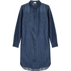 Closed Linen Mix Denim Dress ($245) ❤ liked on Polyvore featuring dresses, blue, collar dress, long sleeve linen dress, torn dress, longsleeve dress and line dress