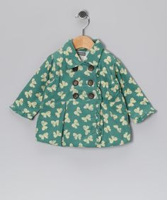 Mint Bow Corduroy Double-Breasted Peacoat - Infant & Toddler on zulily today!