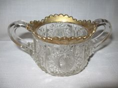 Indiana Glass Co Child's Oval Star Pattern #300 Sugar Bowl Gold Trim 1910