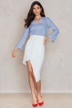 Tie Midi Skirt Off White