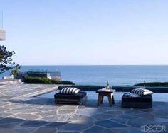 saltwater pool w/ flagstone patio (Courtney Cox's Malibu Home via elle decor)