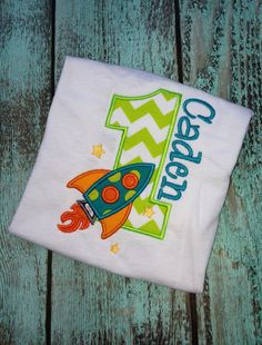Rocket Spaceship Birthday Appliqué Shirt or Onesie. Perfect for boys and girls first, second, third birthday, pictures, party, and more