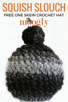 Squish Slouch - free one skein crochet hat pattern on Mooglyblog.com!