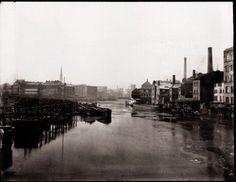 Zille, Heinrich: Berlin – Straßen und Straßenszenen, Blick von der Waisenbrücke nach Westen um 1900