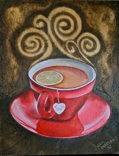 blissful moments, tea cup, art, tea, red