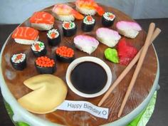 Sushi Birthday Cake Ideas is different and unique option. you should try to put Sushi Birthday cake in your list, if you think a common birthday cake is too mainstream Fondant Flower Cake, Fondant Cakes, Cupcake Cakes, Fondant Bow, Fondant Tutorial, Fondant Figures, Sushi Cake, Sushi Party, Dessert Sushi