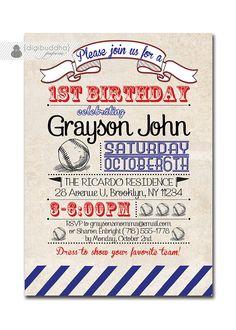 Baseball Birthday Invitation 1st Birthday Baseball Vintage Retro 18th 21st Boy Girl FREE PRIORITY SHIPPING or DiY Printable- Diana by digibuddhaPaperie on Etsy https://www.etsy.com/listing/119746668/baseball-birthday-invitation-1st