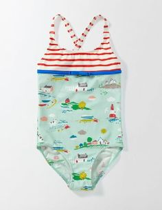 Mini Boden Hotchpotch Swimsuit Azure Mist Coastal Town Youll be all set to play mermaids in this fun swimsuit. The colourful, contrasting prints are amaaaaazing, and like all of our swimwear fabric, its got UPF 50  to protect your skin against the sun. http://www.MightGet.com/april-2017-1/mini-boden-hotchpotch-swimsuit-azure-mist-coastal-town.asp