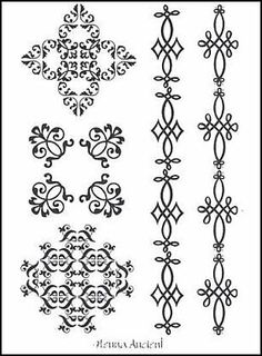 "Henna Ancient Temporaray Tattoo by Tattoo Fun. $4.95. This 3"" x 4 1/2"" sheet of temporary tattoos contains five black henna colored designs. There are three unique individual designs and two arm bands. Each design is an old styled beautiful pattern of swirls and curves."
