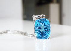 Estate 6.44 Genuine Blue Topaz Fancy Cut Sterling Silver Pendant Necklace #designer #Pendant