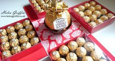 Valentine's Day GIANT Ferrero Rocher Exploding Gift Box // How to make this giant exploding gift box that holds 64 Ferrero Rochers! Big Gift Boxes, Diy Gift Box, Chocolates Ferrero Rocher, Explosion Box Tutorial, Exploding Gift Box, Candy Bouquet Diy, Valentines Gift Box, Chocolate Gift Boxes, Diy Crafts To Do