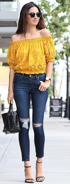 #summer #stunning #outfitideas | Yellow Lace Off The Shoulder Top + Denim
