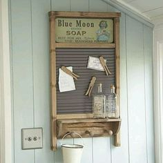 Washboard - add a shelf with pegs underneath, old clothespins with magnets....