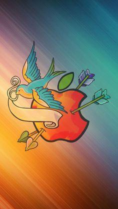 青い鳥とアップルロゴ iPhone5 スマホ用壁紙 | WallpaperBox | スマホ壁紙/iPhone待受画像ギャラリー