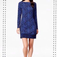 """Michael Kors blue/black animal print dress. NWT Royal blue/black lightweight animal print pull-over dress, partners well with heels or ankle boots. Approx length 34"""", long sleeve arm inseam 17"""", Mach wash . Michael Kors Dresses Long Sleeve"""