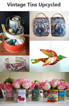 Upcycled: Vintage Tea, Spice, & Biscuit Tins turned into candle holders, vases, planters, magnets, art, lamps, storage caddies & more