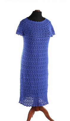 Crochet dress handmade Linen dress Spring / door AlicjaCollection
