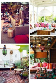 A marokkói stílus is hódít az elmaradhatatlan lámpásokkal, mediterrán motívumokkal, amiket a kiegészítőkkel fokozhatunk: mintás párnákkal, puffokkal, szőnyeggel, tálcákkal, vázákkal, poharakkal, és persze buja növényekkel.