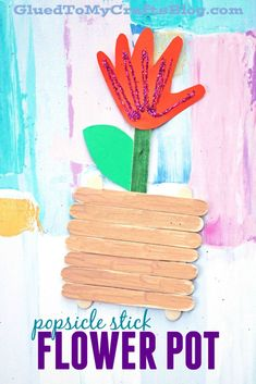 Popsicle Stick Flower Pot - Kid Craft