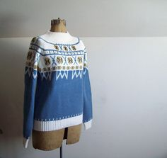 Vintage, unworn JCPenny brand Nordic sweater, marked size small.    Measurements lying flat:    armpit to armpit 19  bottom 16  length from