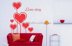 Love Story Wall Decals – WallDecalMall.com Girls Bedroom, Bedroom Decor, Modern Wall Decals, Heart Wall Art, Wall Stickers, Love Story, Sweet, Home Decor, Wall Clings